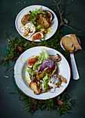 Porccini mushroom salad with walnuts, figs and goat's cheese
