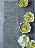 Avocado and spinach gazpacho with smoked salmon tartare