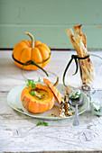Pumpkin soup and crispy sticks