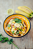 Ceviche with bananas and mango