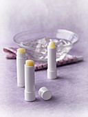 Lip balm made from jojoba oil, cocoa butter, shea butter and lanolin