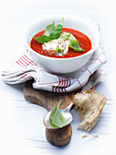 Tomato soup with basil cream
