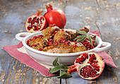 Pute mit Granatapfel und Salbei