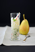 Pear granita in a glass
