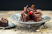 Chocolate tart with cherries and grated chocolate