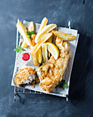Beer-battered fish and crunchy chips