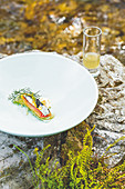 Sardines with fennel, smoked milk cream and a glass of fennel stock, Restaurant Hisa Franko, Kobarid, Slovenia