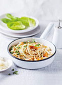 Spaghetti carbonara with smoked fish
