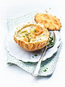 Cream of potato soup served in bread cups