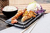 Gyoza and Prawn Katsu platter served with rice (Japan)