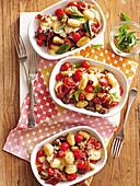 Gnocchi with eggplant, tomato and mozzarella