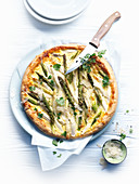 Asparagus tart with shaved parmesan