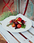 Beetroot salad with sweet potatoes and fennel yoghurt dressing