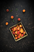 Apricots in a wooden crate
