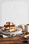 Chocolate and caramel pancakes with bananas