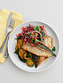 Mackerel with fried potatoes and salad