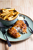 Baked fish with chips
