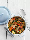 Chicken stew with potatoes, carrots and tarragon