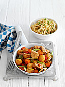 Pork with vegetables and noodles