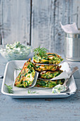 Courgette fritters with feta cheese and tzatziki