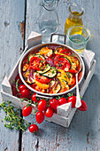 Baked ratatouille with thyme