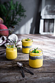 Mango cream, a mango chia dessert, on a kitchen table