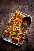 Dhokla brushed with Gunpowder Spice Mix (India)