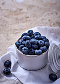 Blueberries in a sugar pot