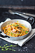 Turnip spaghetti with buckwheat and chanterelle mushrooms (vegan)