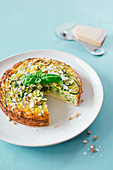 Courgette cake with Parmesan and pine nuts
