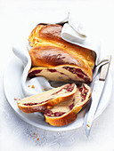 Sweet bread with cherries and nuts