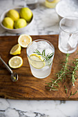 Gin and tonic with lemon and rosmeary