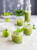 Green juice with cucumber, celery, mint and ginger