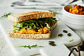 A sweet potato spread sandwich