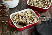 Rice pudding bake with chocolate and an almond crust