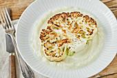 Cauliflower streak with mashed cauliflower