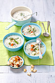 Sour cucumber soup with chicken and cream