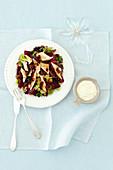 Beetroot salad with smoked fish