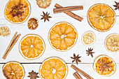 Dried orange slices with cinnamon and anise