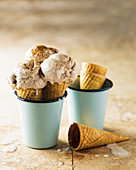 Milk tart ice cream in cones