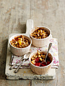 Rhubarb and ginger crumble pots