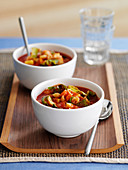 Minestrone in soup bowls