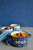 Pumpkin Curry Soup with Chicken in Spice