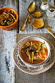 Wild mushroom soup with pasta