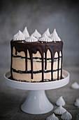 Chocolate and caramel meringue cake