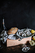 Fresh oysters with lemons and bread