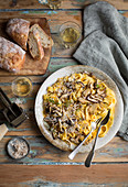 Tagliatelle with butternut squash and mushrooms
