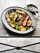 Barbecued butterflied lamb with mint and green onion dressing