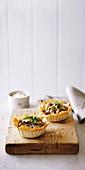 Leek, mushroom and chicken pies