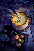 Winter cheese fondue with Mont d'Or and rosemary potatoes